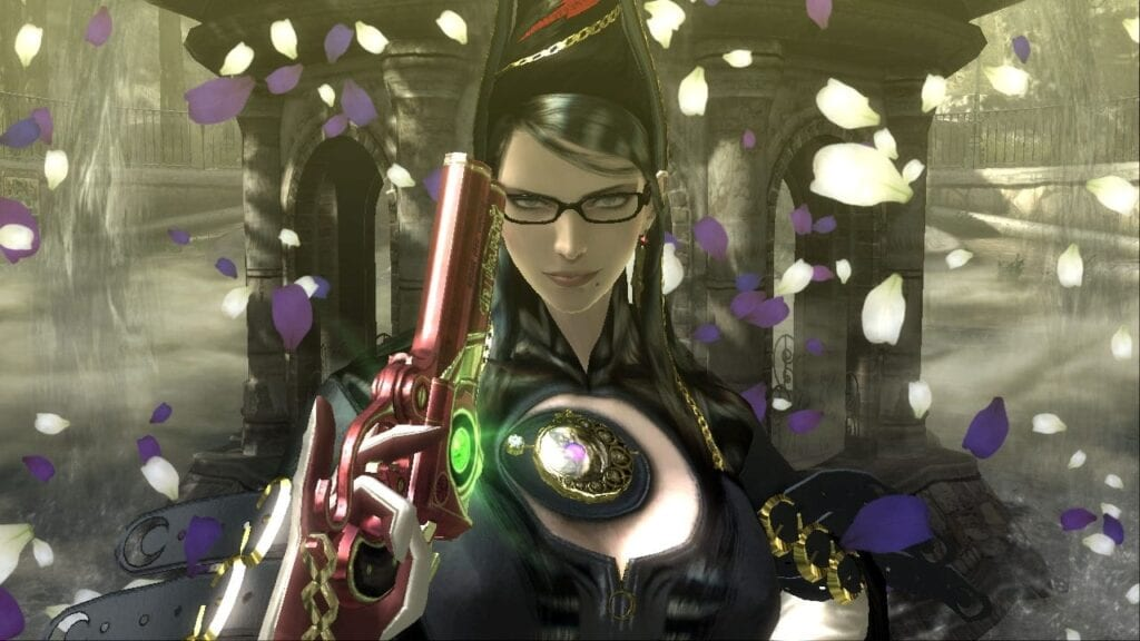 Bayonetta surrounded by rose petals.