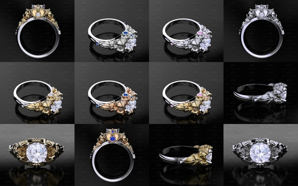 engagement diamond rings half ring delicate products cluster artemer moon