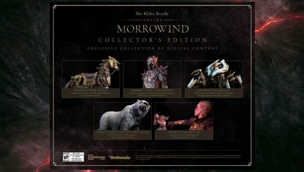 The Elder Scrolls Online: Morrowind Collector's Edition and Upgrades