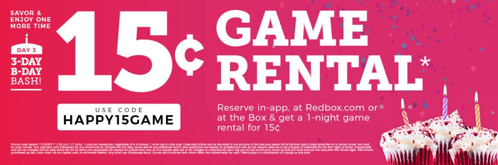 redbox lets you rent games for just 15 cents using special code