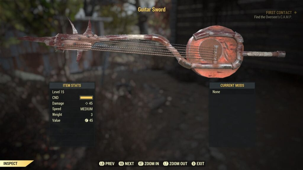 Fallout 76 Guitar Sword Will Let You Shred Both Notes And Foes