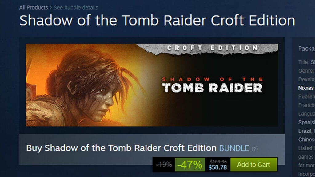 Shadow Of The Tomb Raider Overrun With Negative Reviews Following Steep Discount
